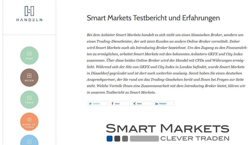 Smart Markets wurde als sehr guter Trading Dienstleister bei Handeln.com getestet