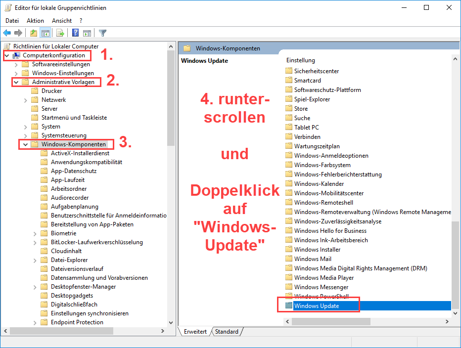 Windows Server 2016 Computerkonfiguration Ordner Windows Update auswaehlen